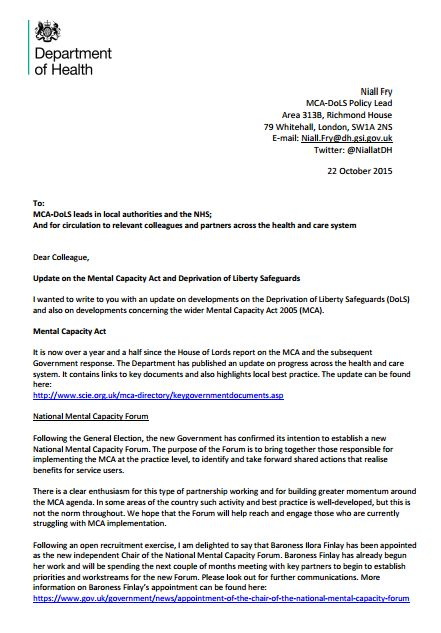 New DH letter to MCA\/DOLS leads guidance on Cheshire West\/DOLS - letter of intent partnership
