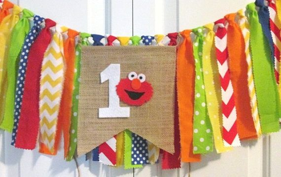 Elmo theme high chair banner Sesame Street theme by backyardprims