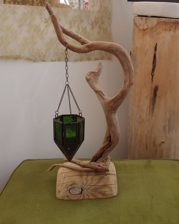 driftwood candle holder 15 x 42 cm