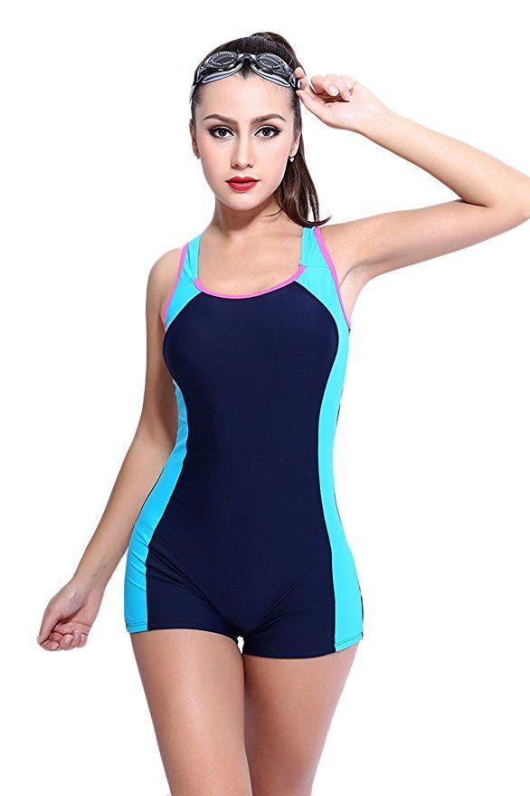 Amazon.com: Women's Slimming One Piece Boxer Boyleg Swimsuit Racerback Halterneck Athletic Swimwear Tankini: Clothing