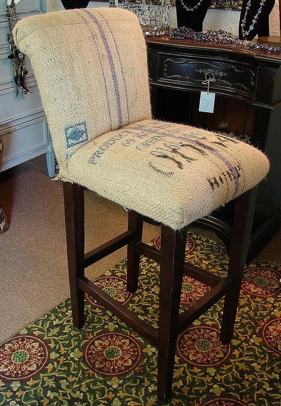 Vintage Burlap Feed Coffee Sack Burlap Accent Bar Height ...