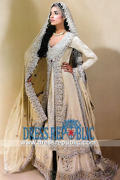 Beige Sarfati - DR9925, Nilofer Couture 2013 Collection - Meeras Lahore latest EID Collection Buy Online by www.dressrepublic.com