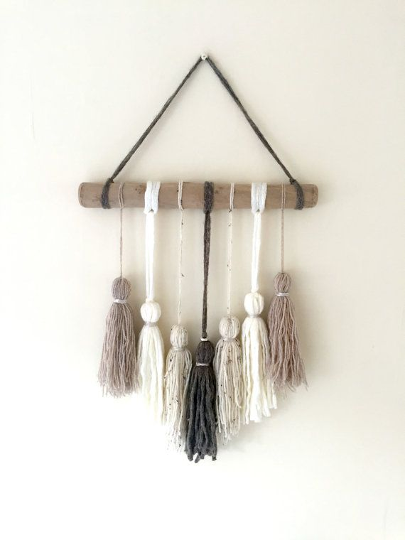 Neutral Tassel Wallhanging by ShelleysHandcrafted on Etsy