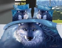 3D azul neve raposa lobo conjunto de cama consolador define queen size colcha lençóis capa de edredão cama em um saco folha de algodão quarto(China (Mainland))