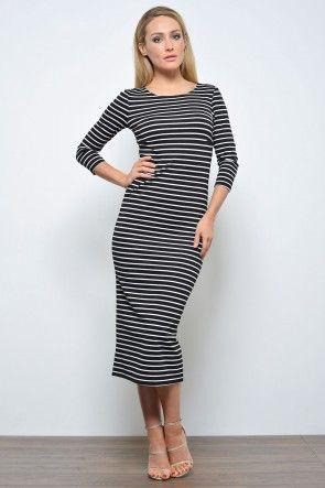 Tinny Striped 7/8 Dress in Black