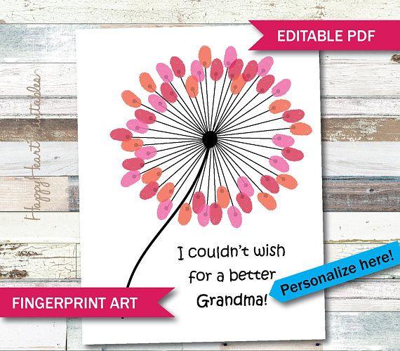 Fingerprint Art Mother S Day Grandma Gift Editable Etsy Fingerprint Art Printable Crafts Fingerprint