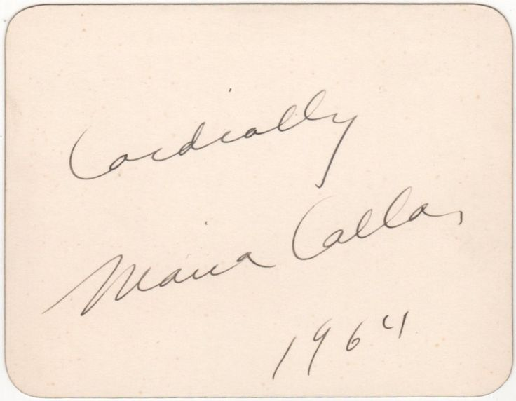 CALLAS MARIA: (1923-1977) American-born Greek Soprano. A good vintage fountain pen ink signature ('Cordially, Maria Callas') and date, 1964, in her hand on a white card.