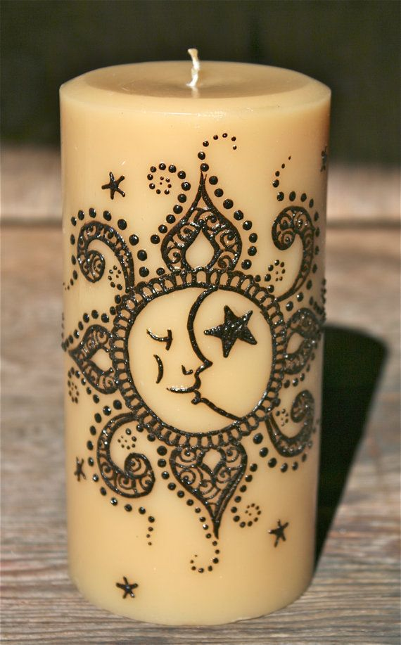 henna Moon  | Items similar to Henna Sun, Moon, and Stars Candle, Buttered Rum Color ...