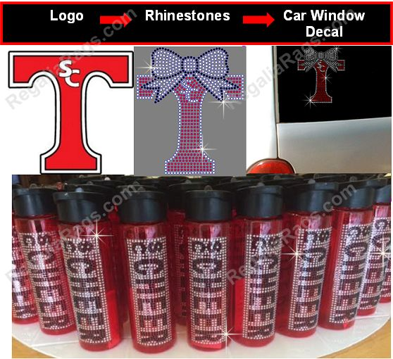 Custom Rhinestone Water Bottles and Rhinestone Car Decals... personalize with individual names or business name / logo. Great for cheer, dance, gymnastics, softball or other sports. Great for fundraiser, cheer gifts, team gifts, spirit gifts and more. Bulk / wholesale discounts available.  Get a quote for your custom logo or design to be converted : http://www.regaliarags.com/custom-rhinestone-quote.htm or order stock designs here: http://www.regaliarags.com/rhinestoneaccessories.htm