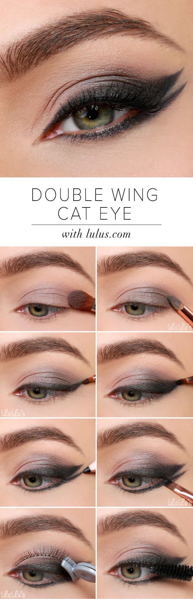 Double winged Glamorous, Black smokey Eye makeup tutorial