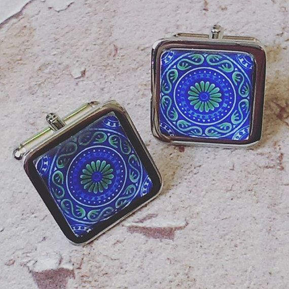 Blues & Greens  Decorative Spanish Tile Cuff Links