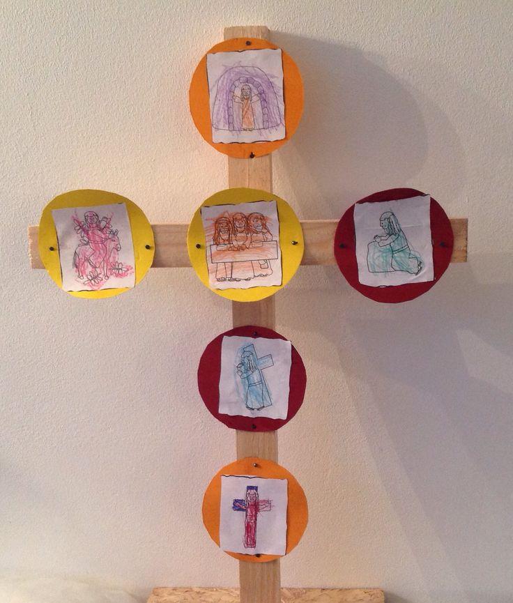 Pasen knutsel kinderen; om tijdens stille week elke dag stil te staan bij een deel van het paasverhaal. Easter cross kids craft. Free printable http://cathedralkindergarten.blogspot.nl/2013/03/free-christian-clip-art-from-charlottes.html