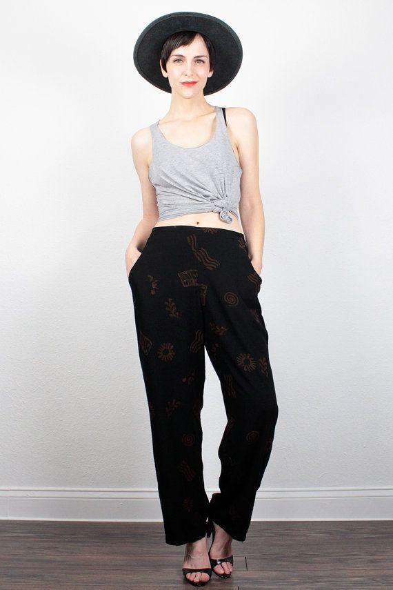 Vintage 80s Pants Black Brown Tribal Print Pants 1980s Pants Draped Harem Pants Wide Leg Pants Boho Hipster Slacks Bohemian Pants S M Medium by ShopTwitchVintage #vintage #etsy #90s #1990s #softgrunge #grunge #boho #bohemian #hippie #slacks #pants #tribal