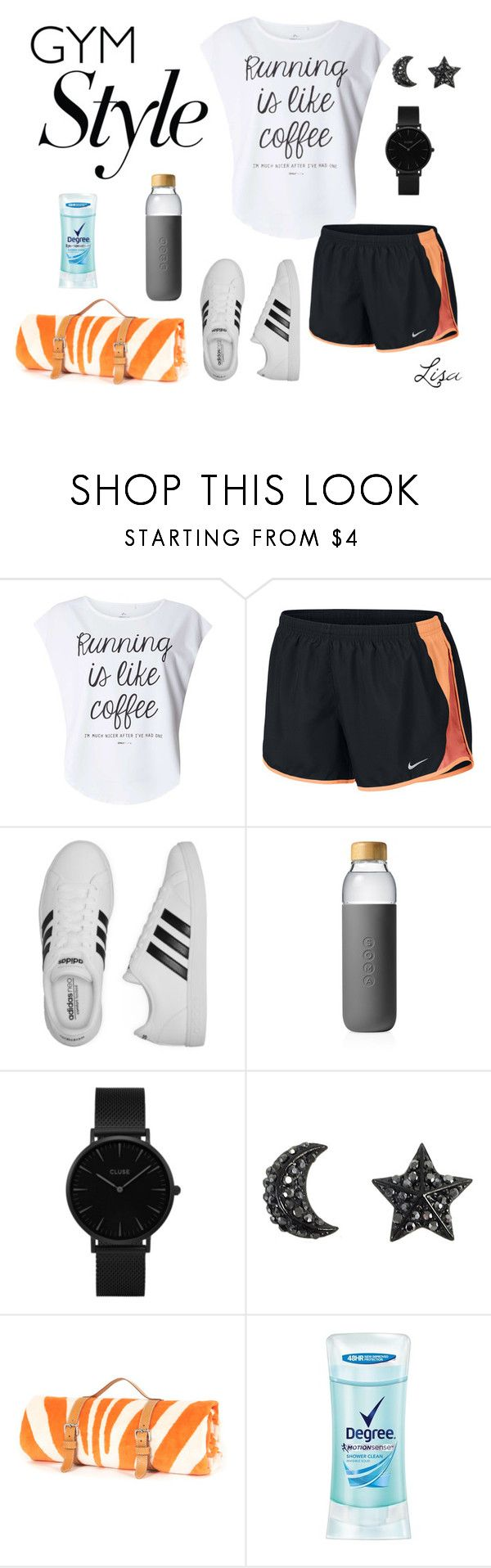 """""""Gym Style"""" by coolmommy44 ❤ liked on Polyvore featuring Dorothy Perkins, NIKE, adidas, Soma, CLUSE, Degree, polyvoreeditorial, polyvorecontest and gymessentials"""