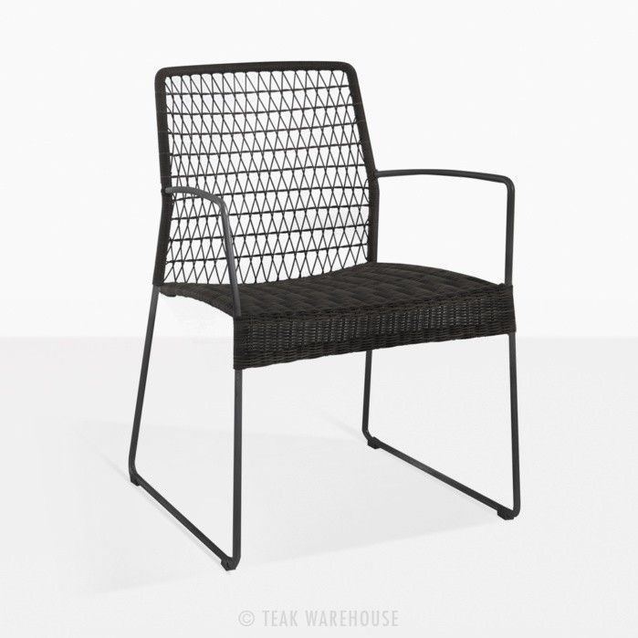 Edge Modern Black Wicker Dining Arm Chair 395