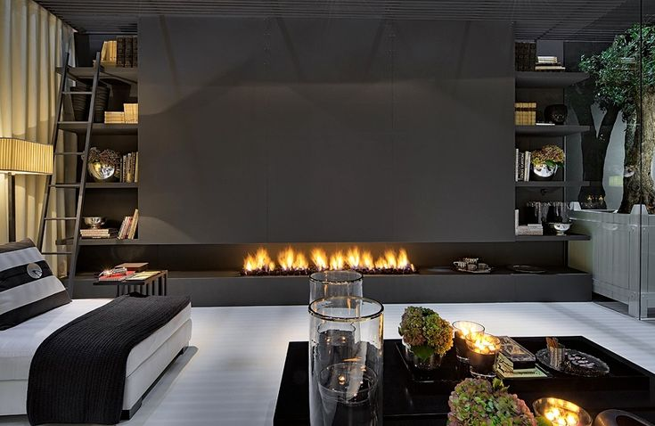 Fireplace wall with books - featuring dark colour MB