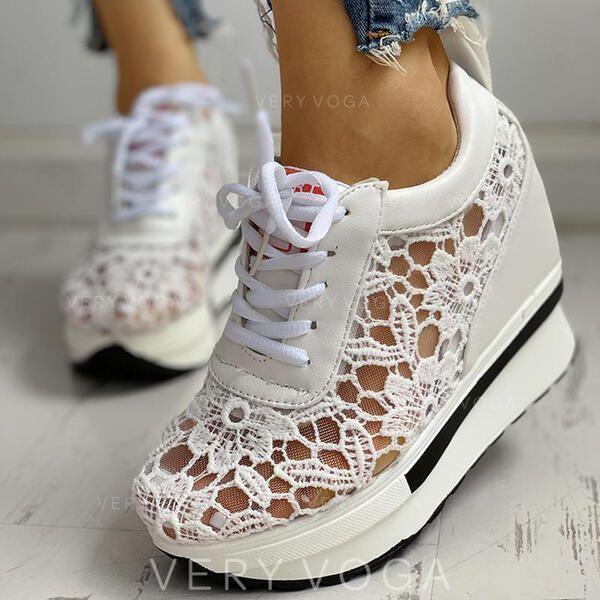 Dla Kobiet Tkanina Mesh Pu Nieformalny Z Koronka Sznurowanie Obuwie 1008286759 Trampki Atletyczny 286759 Veryvoga Lace Up Shoes Lace Up Shoes