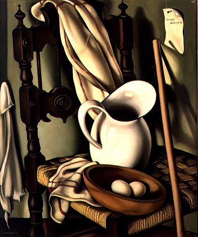 Tamara de Lempicka Cruche sur une chaise I (Nature morte aux oeufs) 1941 huile sur toile 60,5x55