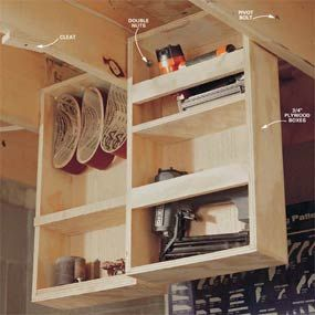 Eke out every cubic inch of storage in a basement shop with pivoting boxes that hang between the ceiling joists. When a drawer is down, you have easy access to its contents. Use glue and 1-5/8 in. drywall screws to hold together the boxes, then customize shelving for whatever you want to store. Make the width about 3/8 in. narrower than the cavity it fits in and use double-nutted 3/8 in. x 3-1/2 in. carriage bolts for the two pivot points.  2 plywood cleats pivot on 3-in. screws tuck drawers…
