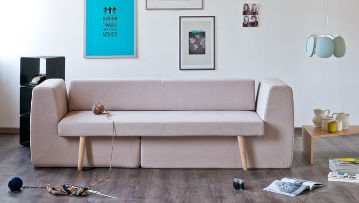 Sofista - A couch for space saving - the two ends can be pulled out to serve as chairs when needed #sofista #furniture #design
