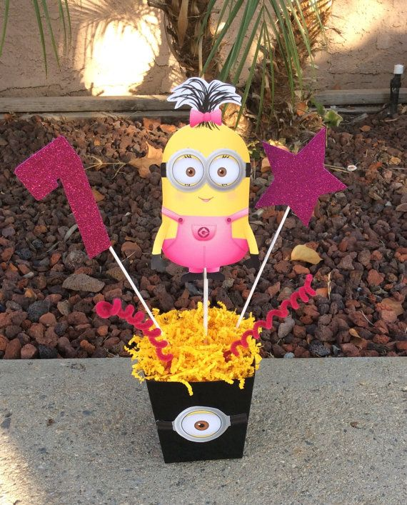 Girl Minion Birthday Party Centerpiece by FantastikCreations