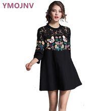 Ymojnv 2017 novas mulheres primavera vestidos de impressão sexy dress borboleta bordado lace a linha de roupas das mulheres three quarter ym008(China (Mainland))