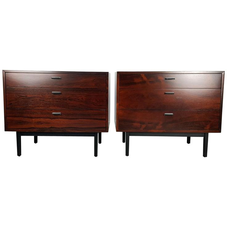 Pair of Rosewood Chests in the Style of Harvey Probber, 1960s | From a unique collection of antique and modern commodes and chests of drawers at https://www.1stdibs.com/furniture/storage-case-pieces/commodes-chests-of-drawers/