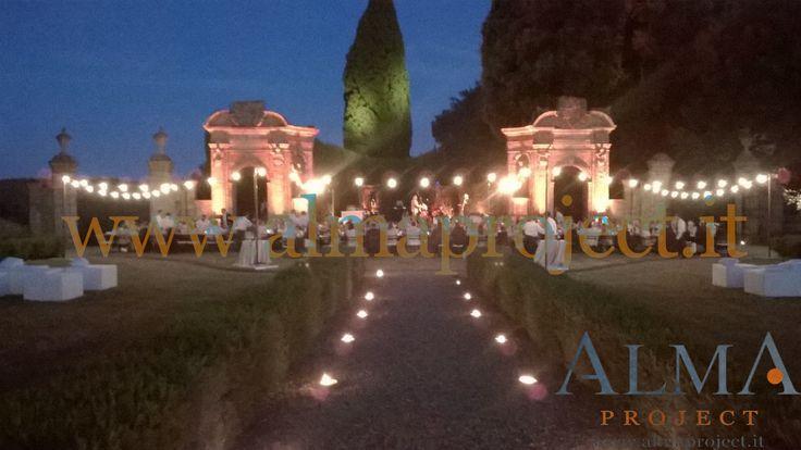 ALMA PROJECT @ Villa di Geggiano - Bulbs dinner area - trees hedges archs lighting