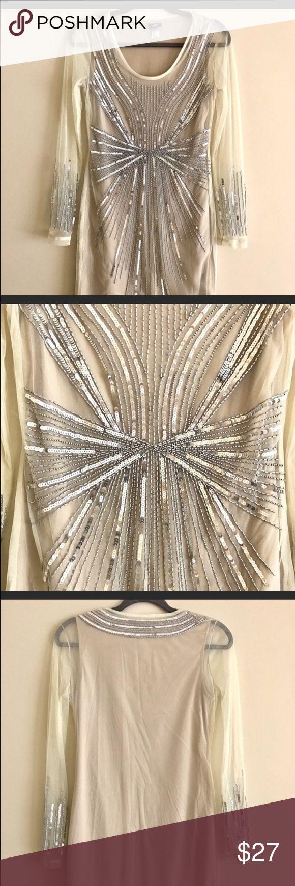 H&m cream sequin dress size small H&m cream sequin dress size small. A few missing sequins on sleeve see photo   30' long H&M Dresses