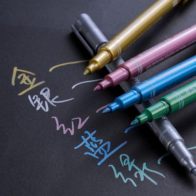 Staedtler 1 шт. золото серебро зеленый синий красный металлик маркер для приглашения/черная бумага/живопись рисунок маркер ремесленного ручки