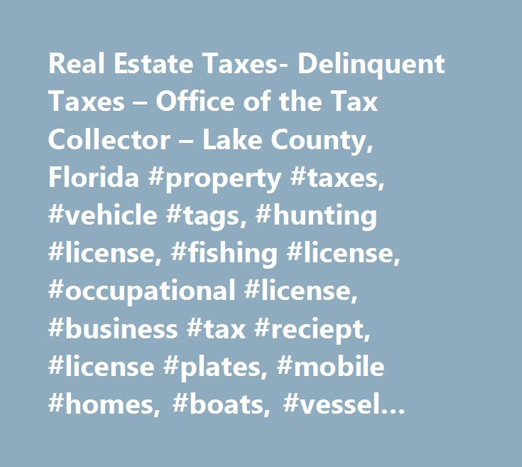 Real Estate Taxes- Delinquent Taxes – Office of the Tax Collector – Lake County, Florida #property #taxes, #vehicle #tags, #hunting #license, #fishing #license, #occupational #license, #business #tax #reciept, #license #plates, #mobile #homes, #boats, #vessel #registration, #disabled #parking #permits, #parking #permit, #non #ad #valorem #assessments, #ad #valorem #taxes, #tax, #tax #collector, #bob #mckee, #lake #county, #florida…