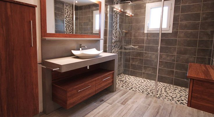 meuble de salle de bain beton cire atria vue ensemble salle de bain pinterest. Black Bedroom Furniture Sets. Home Design Ideas