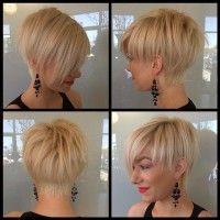 krótka blond fryzurka z grzywka na bok