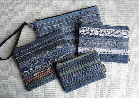 Denim wristlet clutch makeup cosmetic zipper bag pouch by BukiBuki …