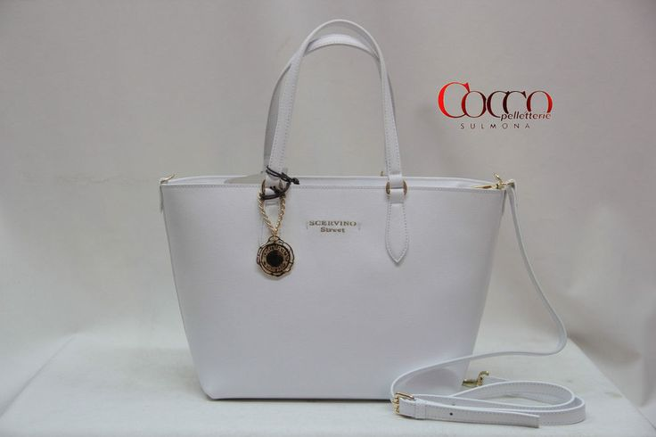 BORSA MANICI IN PELLE SCERVINO STREET LINEA  DAIMA ART.404 BIANCO MADE IN ITALY