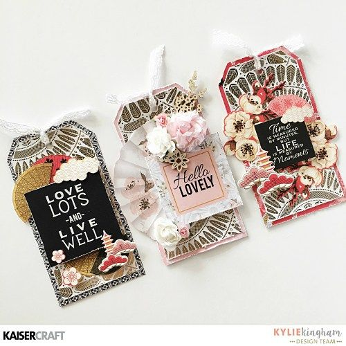 'Golden Tags' [View A] by Kylie Kingham Design Team member for Kaisercraft Official Blog Group Post featuring the 'Fan Patterned Gold Foil' Specialty Paper from the 'Hanami Garden' collection [February 2017] Learn more at kaisercrat.com.au/blog ~ Wendy Schultz ~ Tags.