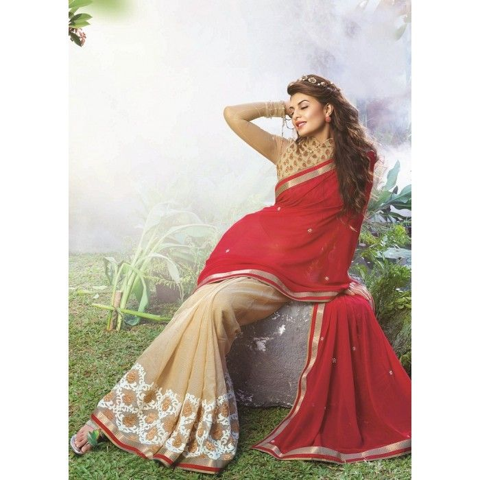 Red & Beige Georgette Jacqueline Fernandez saree #wedding #bridal #embroidered #attractive #beautiful #jacquelinefernandez #saree #bollywood #hollywood #tellywood #telewood #celebrity