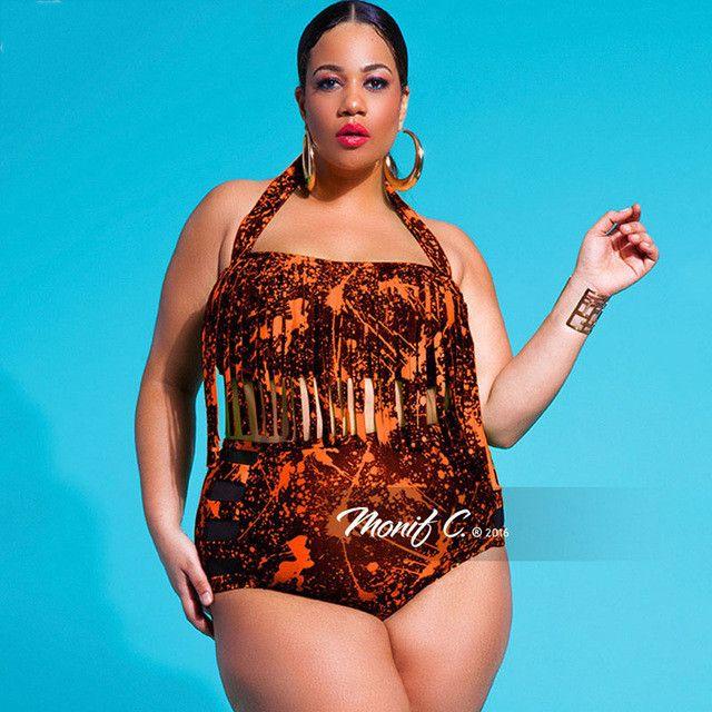 Chubby Women's Favorite Looming Tassel Designed Swimwear Women Bikini Plus Size High Waist Solid Tankini Feminino 2017