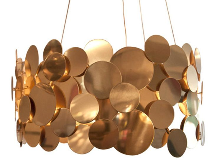Polished Brass Disc Chandelier : trans-LUXE : Custom Lighting and Shades hand made in New York City