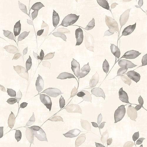 Vackra slingrande blad i olika grå toner från kollektionen Arcadia AC-18554. Klicka för att se fler härliga tapeter för ditt hem!