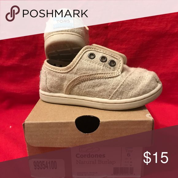 Infant burlap Toms size 6 Very good condition with box Toms Shoes