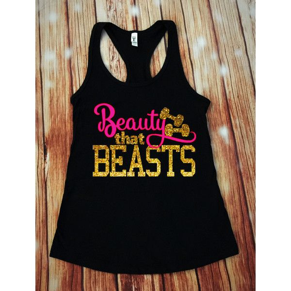 Beauty That Beasts Disney Workout Tank Crossfit Tank Workout Tank... ($20) ❤ liked on Polyvore featuring activewear, activewear tops, dark olive, women's clothing, jersey shirt, checkered shirt, matte jersey, stretch shirt and glitter shirt