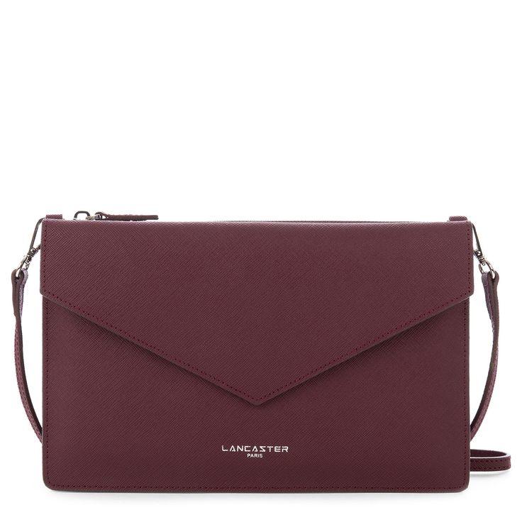 Burgundy clutch bag, Element AIR DUO, Lancaster Paris. #bag #clutch #envelope #sac #pochette #burgundy #bordeaux #element #saffiano #fashion #britchic #accessory #lancaster #lancasterparis
