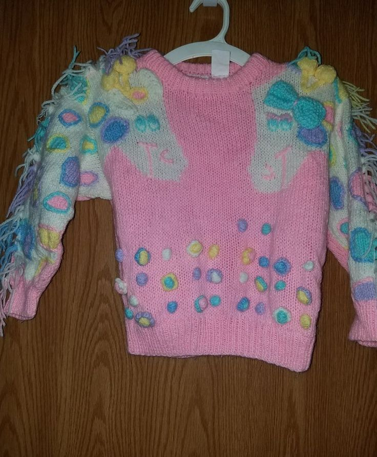 Vintage 80's Girls Popsicle brand Pink Giraffe Sweater size 5 EUC   eBay