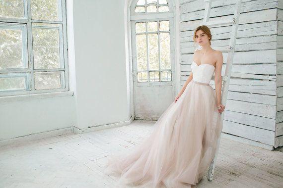 Blush wedding gown // Dahlia // 2 pieces by MywonyBridal on Etsy