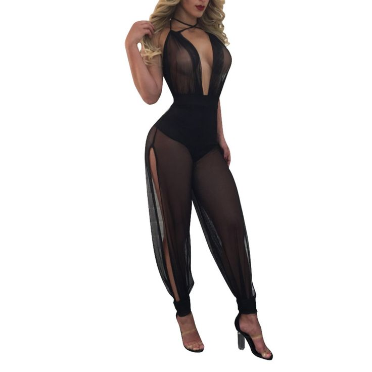 Yuerlian Mesh Sheer Split Jumpsuits Women Halter See Through One Piece Romper Overalls 2017 Summer Hot Lady Backless Playsuits