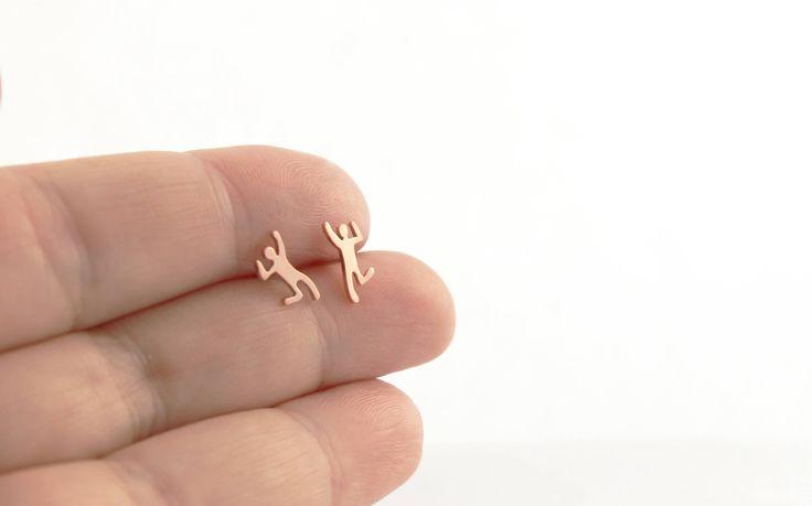 Quirky people Earrings, little people studs, human earrings, cute people earrings, jumping person, silhouette earrings, free people earring