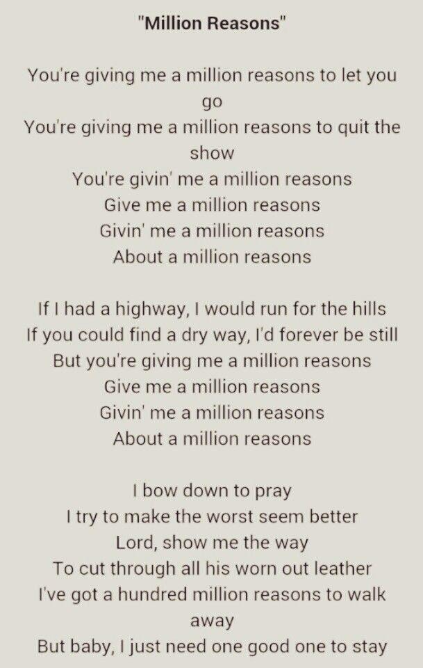 Pin By Val On About Life And Relationships Lady Gaga Quotes Lady Gaga Lyrics Million Reasons Lyrics
