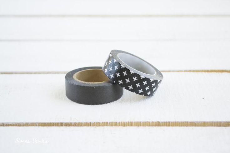 Washi tape negro y washi tape cruces blancas