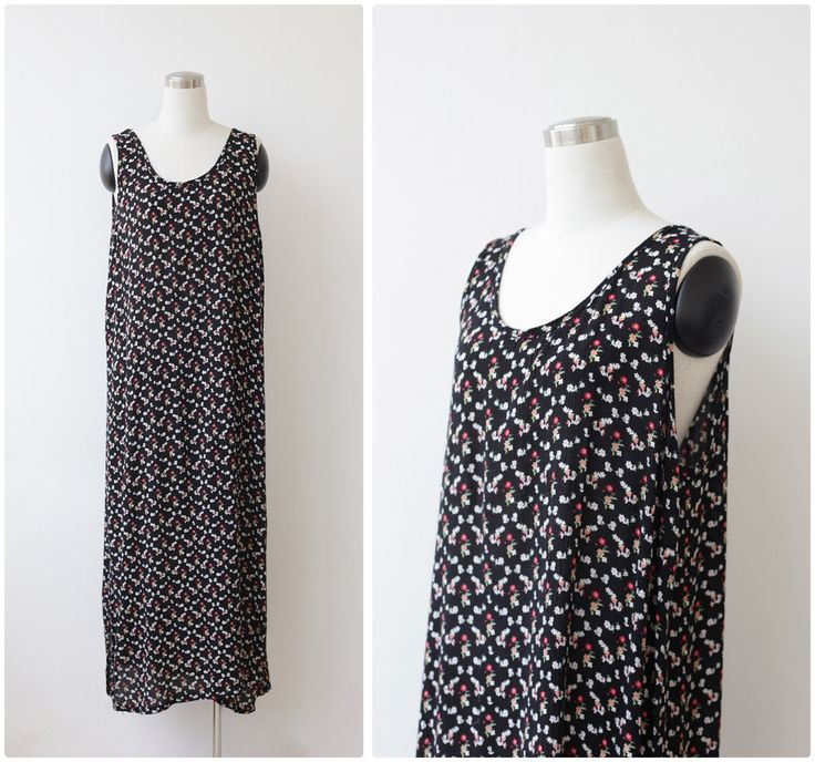 1990's Long Floral Black Dress L XL, Cotton Sleeveless Dress, Maxi Grunge Dress by prvtcollection on Etsy